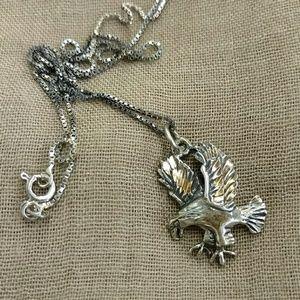Sterling vintage American Eagle necklace